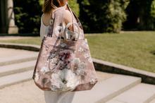 pojemna torba na ramię z bawełny w kwiaty
