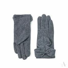 Szare wełniane rękawiczki damskie z dużą kokardą - szary