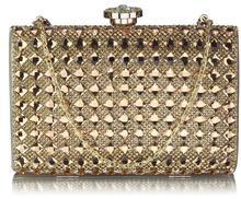 Złota wizytowa torebka damska z kryształami GOLD