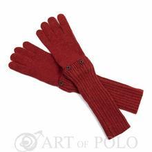 Ciemnorude uniwersalne rękawiczki 3 w 1 długie, krótkie, mitenki - rudy