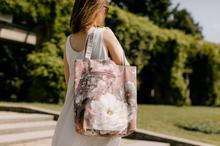 torebka na ramię z bawełny w duże kwiaty