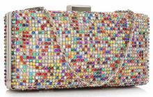 Kolorowa torebka wizytowa szkatułka z kryształków