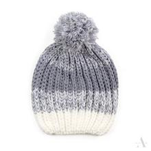 Szaro-biała sportowa czapka damska z pomponem - szary || popielaty || biały