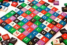 Klocki edukacyjne, cyferki, literki - kolor