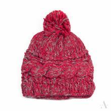 Czerwono-szara melanżowa czapka damska z pomponem - szary || czerwony