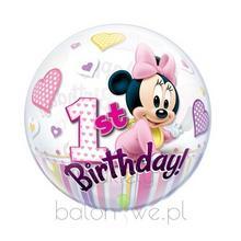 Balon Bubble - 1 urodziny Baby Minnie z helem