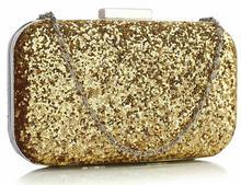 Złota torebka wizytowa z drobnych cekinów - złoty