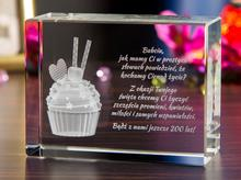 Personalizowany kryształ 3D z muffinką