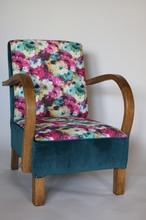 Fotel w stylu ArtDeco w kwiaty zielony