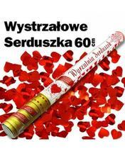 Wystrzałowa tuba konfetti 60cm czerwone serca