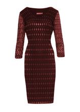 Sukienka koronkowa-połyskujące romby- BORDOWA
