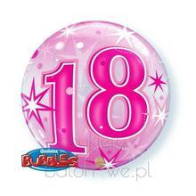 Balon Bubble - z helem 18 różowy z helem