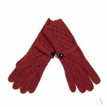 Rude wełniane rękawiczki damskie z guziczkiem - rudy