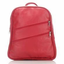 Skórzany plecak damski z kieszonkami czerwony - czerwony