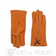 Pomarańczowe wełniane rękawiczki z ozdobną kokardką - pomarańczowy