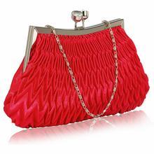 Czerwona torebka wizytowa z karbowanym przodem - czerwony