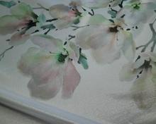 Żakard drukowany w jasno różowe kwiaty