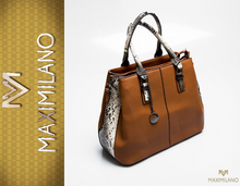 NEW MADE IN ITALY piękna torebka wężowy wzór ruda