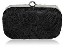 Koronkowa torebka wizytowa czarna - czarny