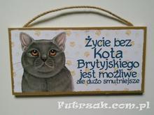 Tabliczka drewniana z motywem - Kot Brytyjski
