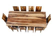 Stół drewniany 250cm + 10 krzeseł indyjski S02AK12