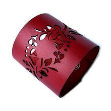 Bransoletka ze skóry naturalnej - czerwona