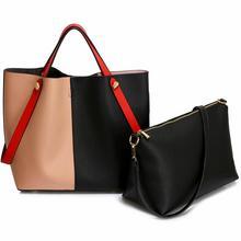 Torebka damska shopper bag czarna/brudny róż - czarny || czerwony || różowy
