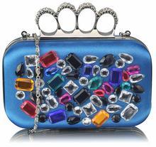 Niebieska torebka wizytowa szkatułka z kolorowymi kryształkami - niebieski || wielobarwny