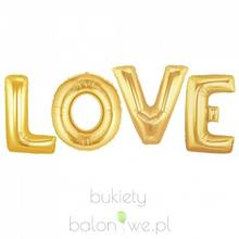 Napis LOVE - złoty, balony z helem