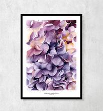 "Plakat botaniczny ""Hortensje fioletowe"" A4"