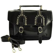 Oryginalna czarna torebka listonoszka w stylu Vintage - czarny