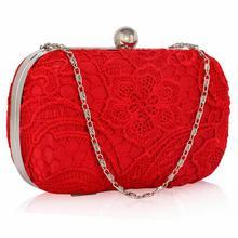 Czerwona koronkowa torebka wizytowa - czerwony