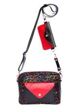 Torebka Double Bag- czarna nakrapiana z czerwienią