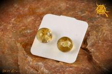 Cytryn kamień naturalny kolczyki sztyft srebro