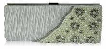 Torebka wizytowa kopertówka z białymi perłami - biały