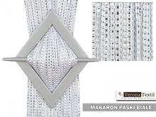 Makarony srebrny pasek 200x100 biały