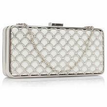 Luksusowa ażurowa torebka wizytowa biała ze srebrem - biały || srebrny