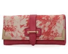 Różowy portfel damski z kolorowym nadrukiem - różowy || wielobarwny