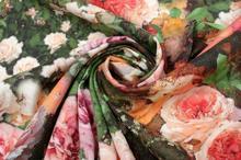 Krepdeszyn Jedwabny Elastyczny Malowane Róże