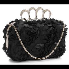 Oryginalna torebka wizytowa z kwiatowych płatków czarna - czarny