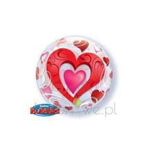 Balon Bubble - Heart napełniony helem