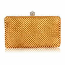 Złota torebka wizytowa z drobnych koralików - złoty