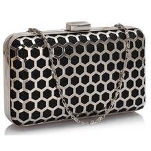 Czarno-srebrna szkatułka torebka wizytowa - czarny || srebrny